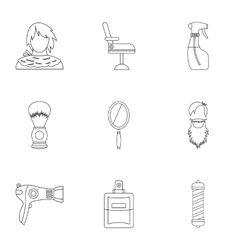 Hair cut icons set outline style vector