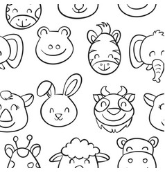 hand draw animal style pattern collection vector image vector image