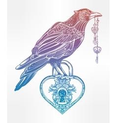 Hand drawn raven bird with heart shaped padlock vector image vector image