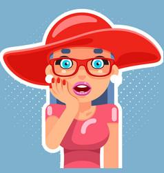 hat pop art sale cute surprised female girl woman vector image