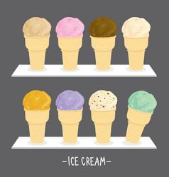 ice cream cone scoop cartoon vector image