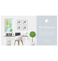 Interior design Modern workspace background 9 vector image
