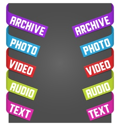 left and right side signs - video audio photo vector image vector image