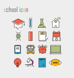 line icons school school iconsmodern infographic vector image