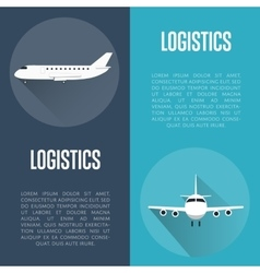 Logistics banner set with airplane vector