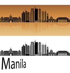 Manila skyline in orange vector image