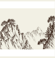 Mountain cliffs hand drawing vector