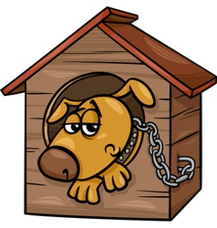 Sad dog in kennel coloring page vector