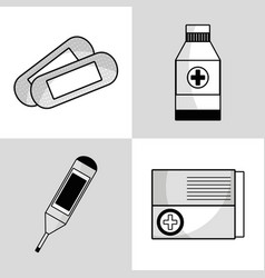 Set medical tratment with first aid tools vector