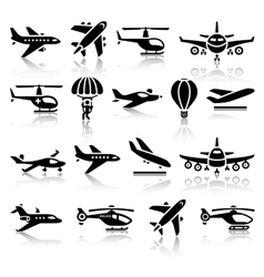 Set of aircrafts black icons vector image