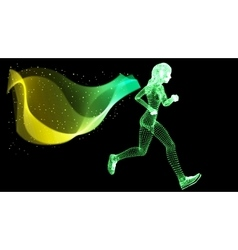 Silhouette woman athletes on running race vector