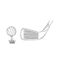 sketch of the golf ball and golf club vector image vector image