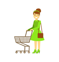 Smiling woman with an empty shopping cart vector
