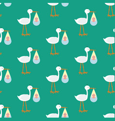 Stork brought the baby seamless pattern vector