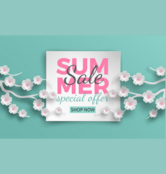 Summer sale banner with paper cut cherry flowers vector