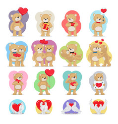 valentines day set bears and doves in love vector image vector image