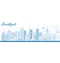Outline frankfurt skyline with blue buildings vector