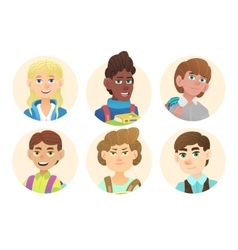 Avatars schoolboys with backpacks vector image