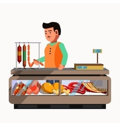 Butcher shop meat product seller at the counter vector