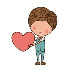 Man formal suit holding heart vector