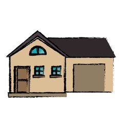 drawing house modern style with garage vector image