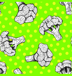 Seamless pattern with broccoli background vector