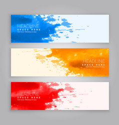 Abstract grunge ink splash web banners template vector