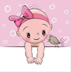 Cute cartoon baby girl and a bird vector