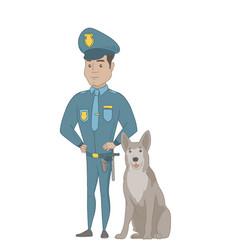 Hispanic police officer standing near police dog vector
