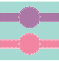Pink and violet ribbon and label set vector