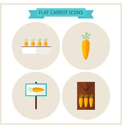 Flat carrot vegetable website icons set vector