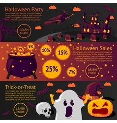 Set of halloween flat banners - halloween party vector