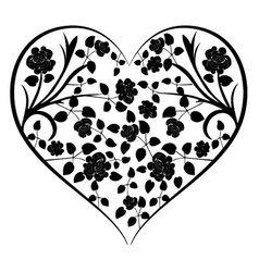 heart with vintage flowers vector image