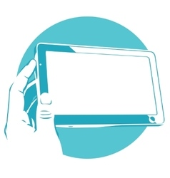 Tablet device in hand touchpad vector