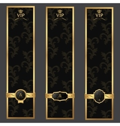 Vip banner background dark gray and gold with vector