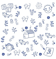 Doodle art leaves and animal vector