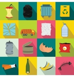 Waste and garbage icons set flat style vector