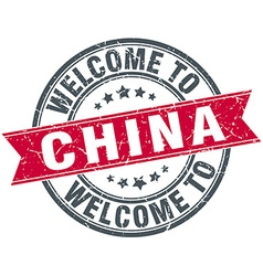 Welcome to china red round vintage stamp vector