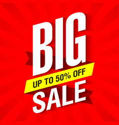 big sale banner design template up to 50 off vector image vector image
