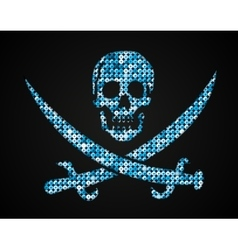 blue skull Pirate flag Sequins vector image