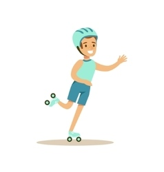 Boy Roller Skating Kid Practicing Different vector image vector image