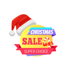 Christmas super choice promo label with santa hat vector