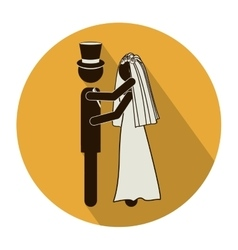 Circular shape pictogram of wedding couple vector