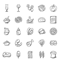 Collection of food items doodle icons vector