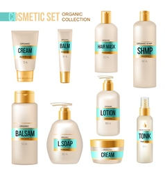 Cosmetic beauty products luxury realistic set vector