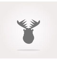 Deer head on web icon button isolated on vector image