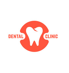 Dental clinic with white tooth vector