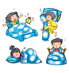 Different position and reaction of kids vector image vector image