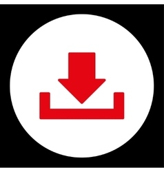 Download flat red and white colors round button vector