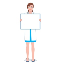 Female doctor with a board vector